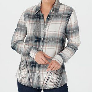 S Tolani Collection Long Sleeve Plaid Top Shirt